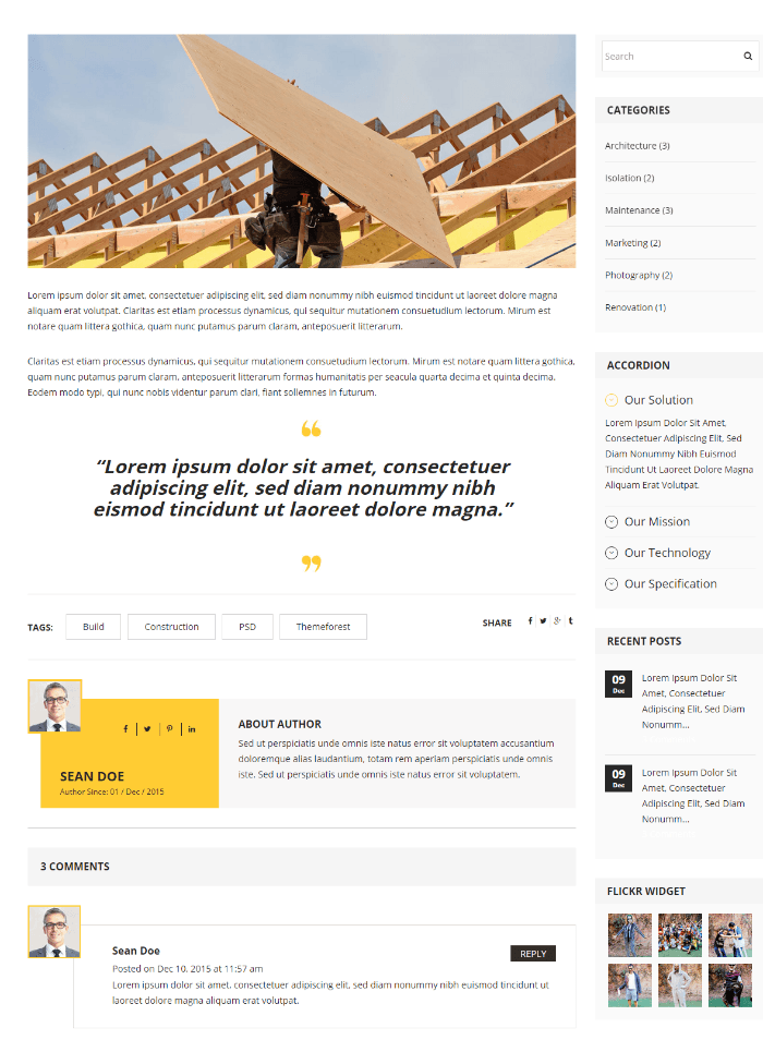 Constructioner - blog with right sidebar