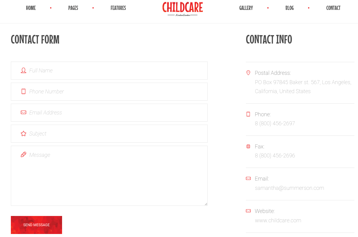 Contact Page of Child Care