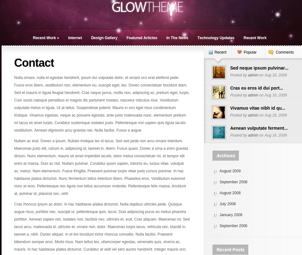 Contact Page of Glow
