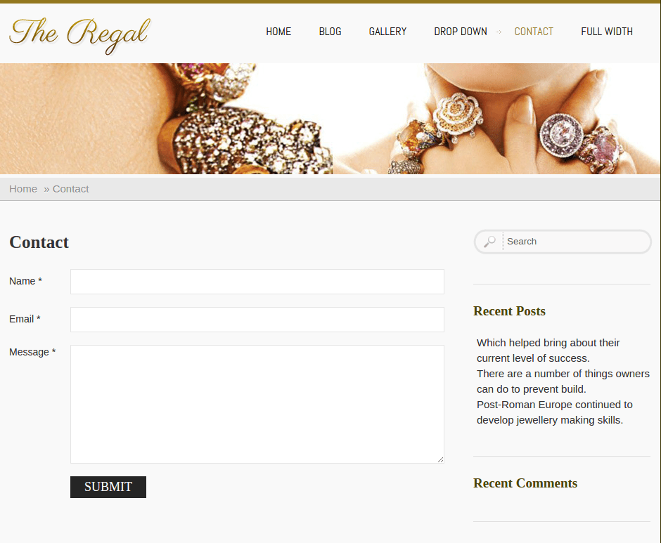 Contact Page of Regal