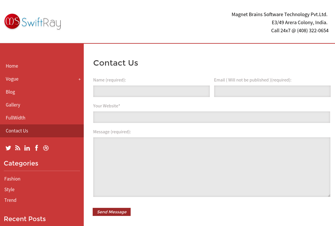 Contact Page of SwiftRay
