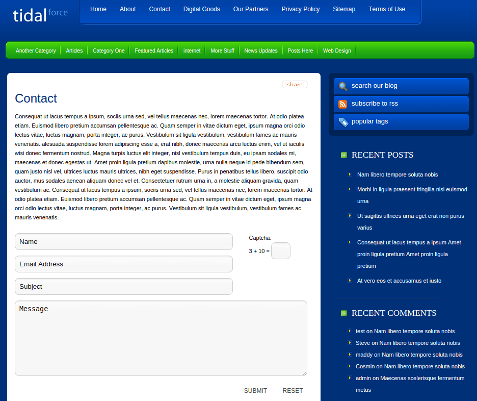 Contact Page of TidalForce