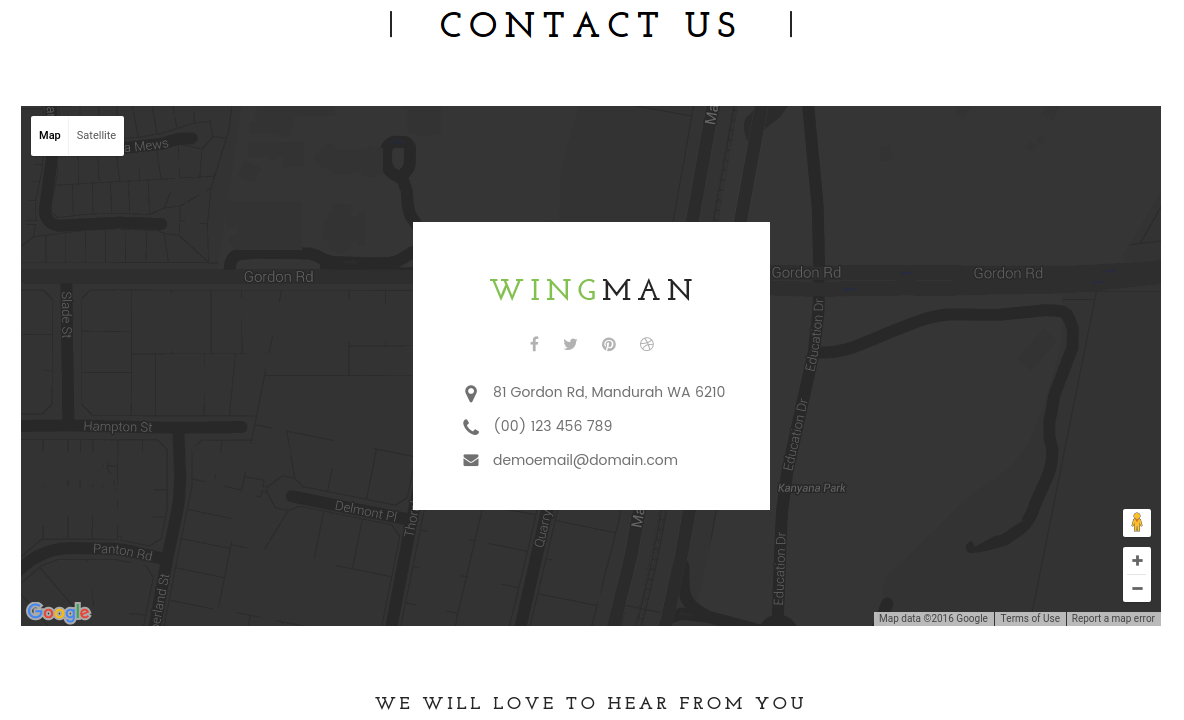 Contact Page of WINGMAN