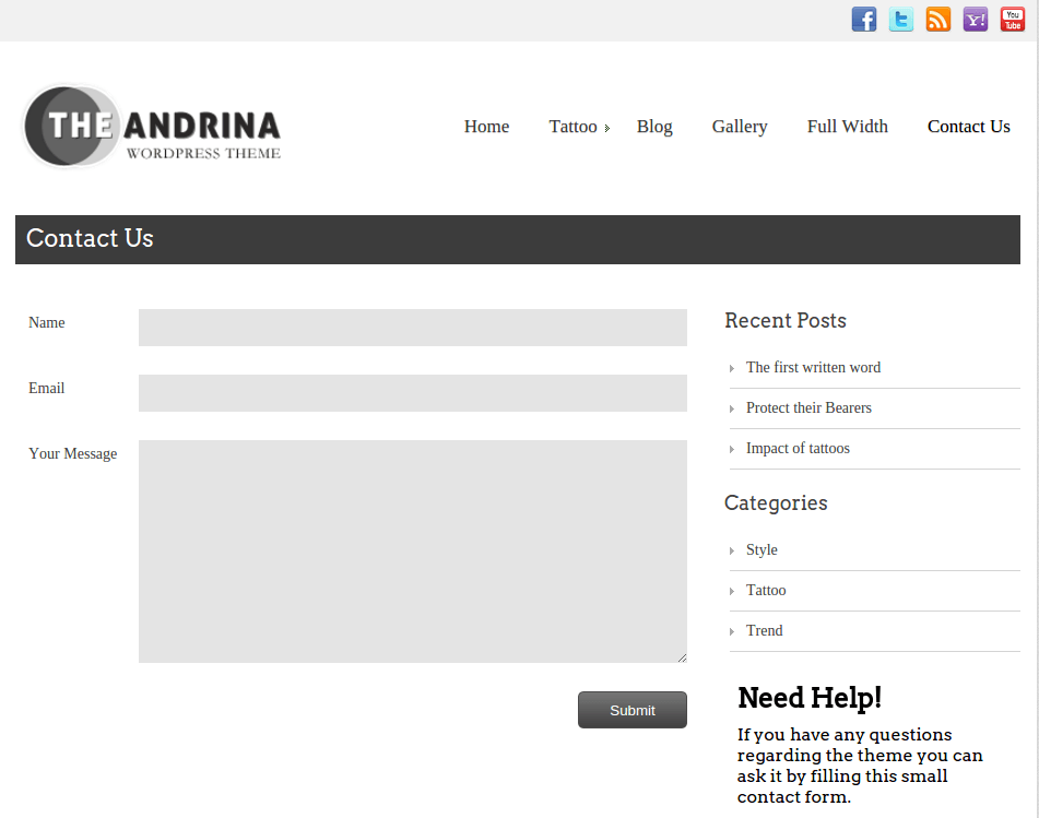 Contact Us Page of Andrina