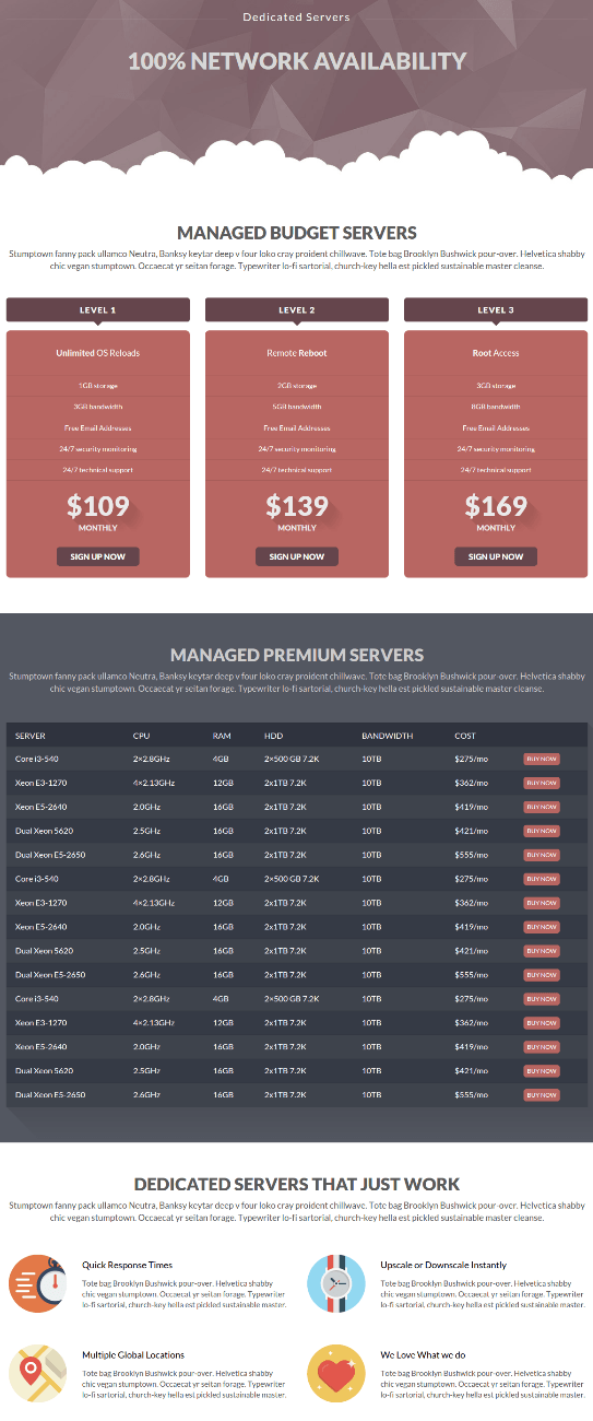 Dedicated Servers page of Cloudme Host