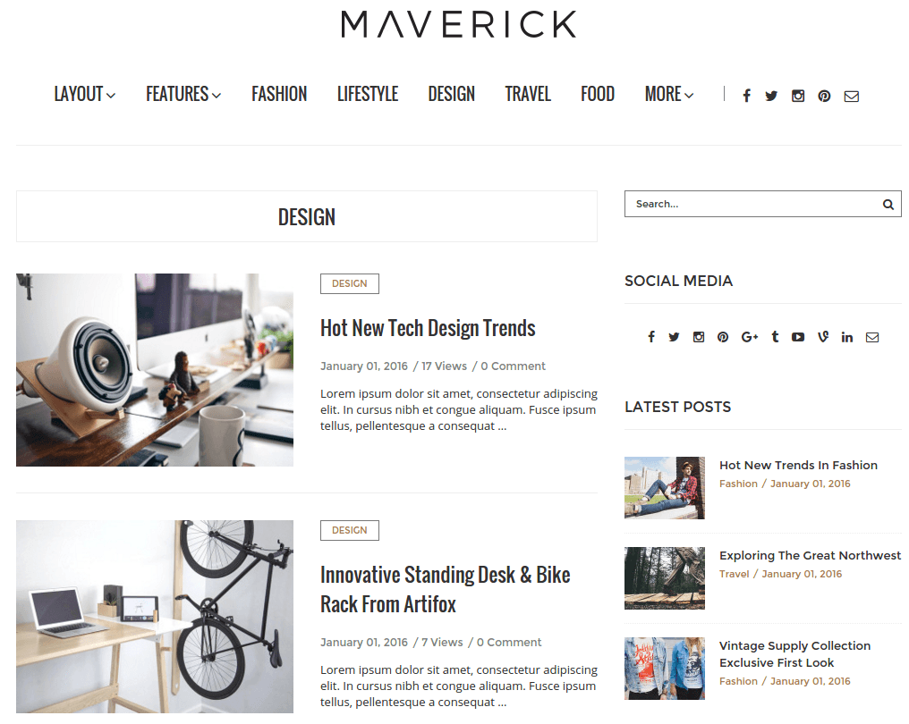 Design Page of Maverick