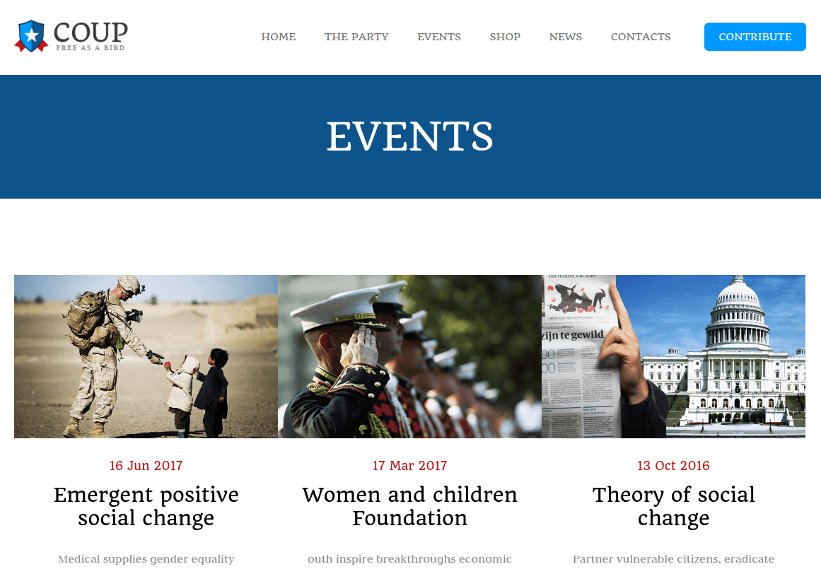 Events Page of COUP