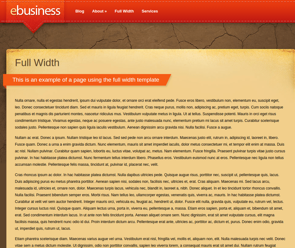 Full Width Page of eBusiness