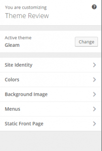 Gleam - Live customizer options