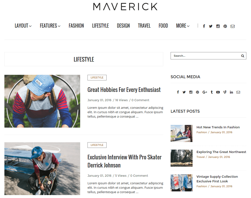 LifeStyle Page of Maverick