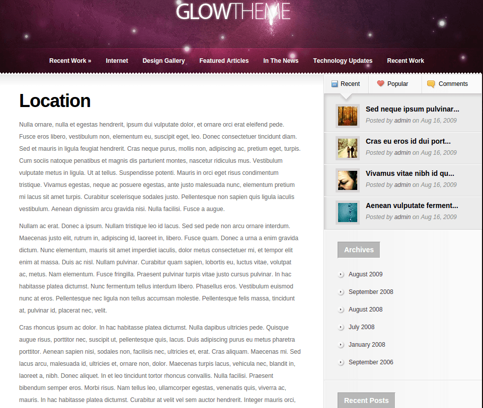 Location Page of Glow