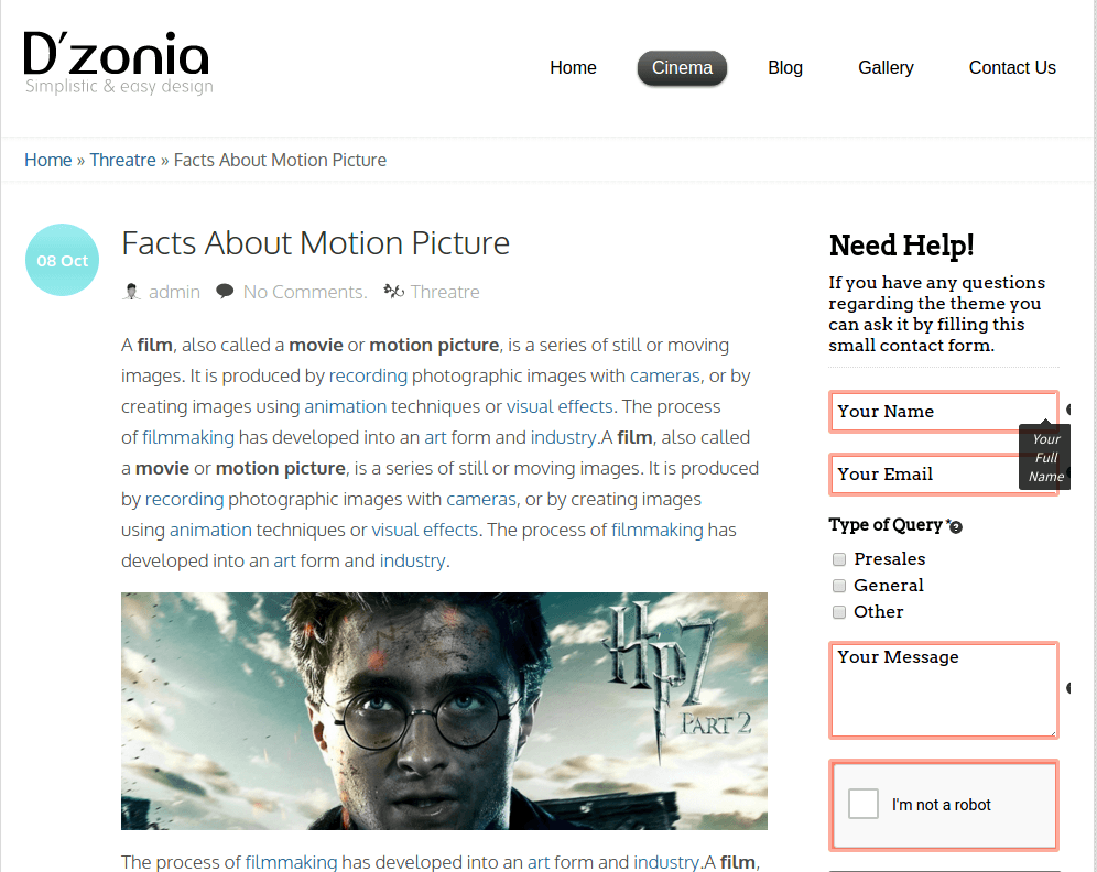 Motion Picture Page of Dzonia