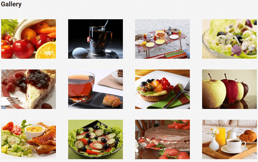 Nutrition - Gallery page layout