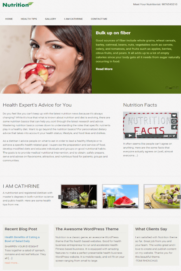 Nutrition - Home page layout