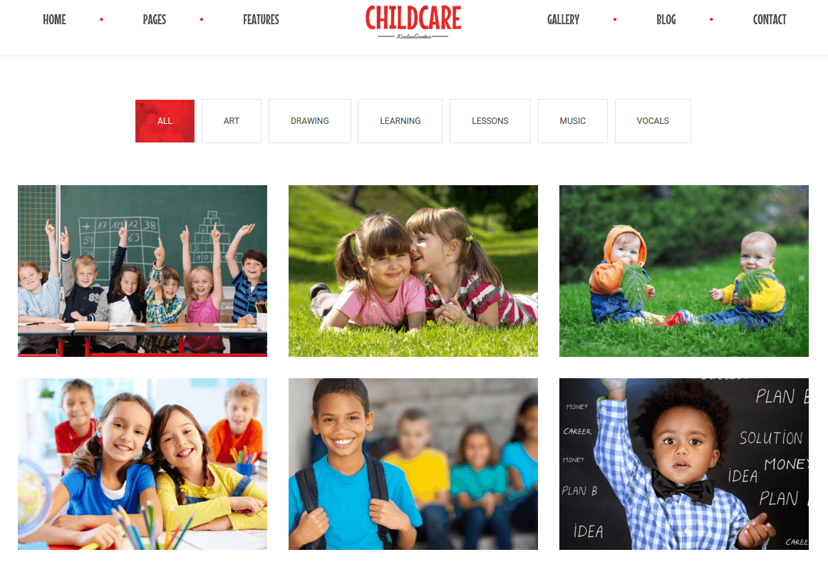 Portfolio Page of Child Care