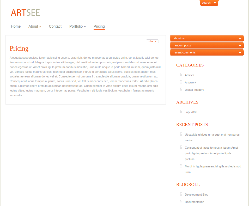 Pricing Page of ArtSee