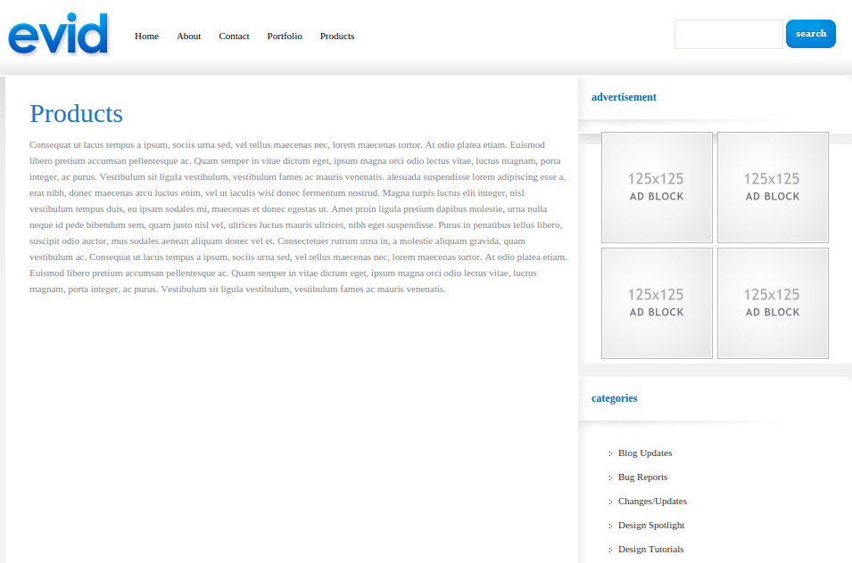 Product Page of eVid