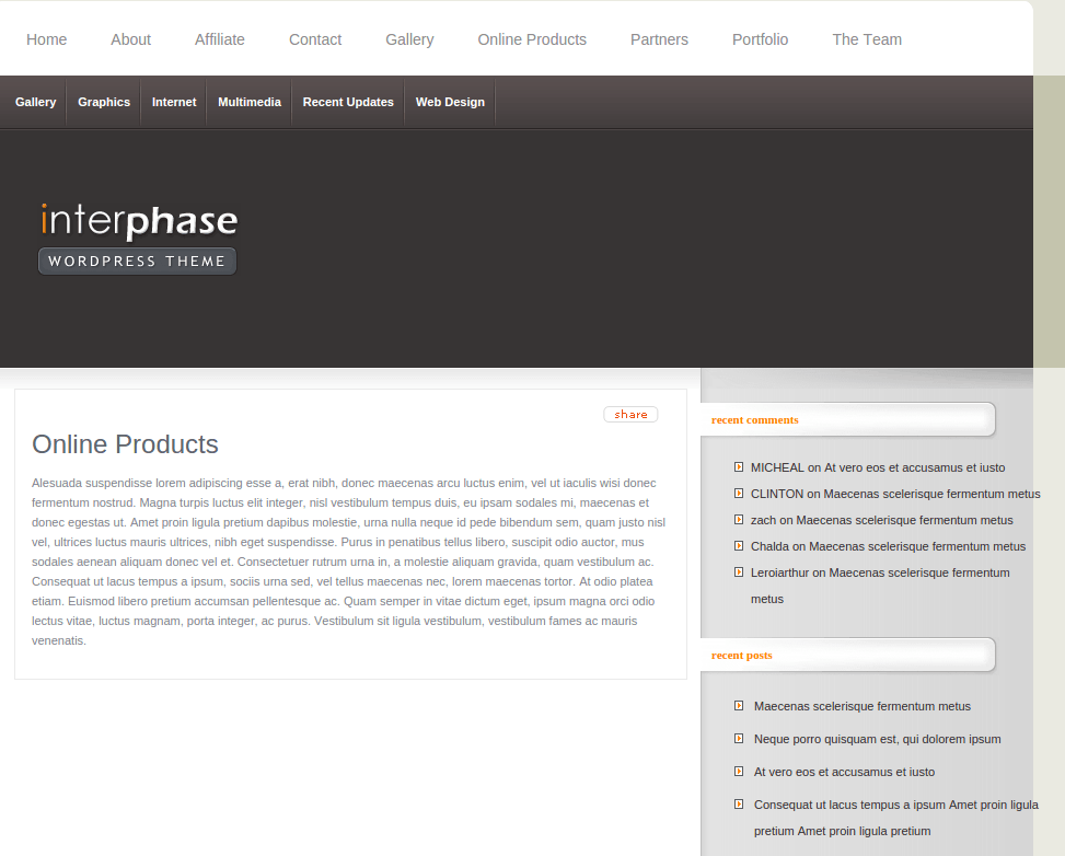 Products Page of InterPhase