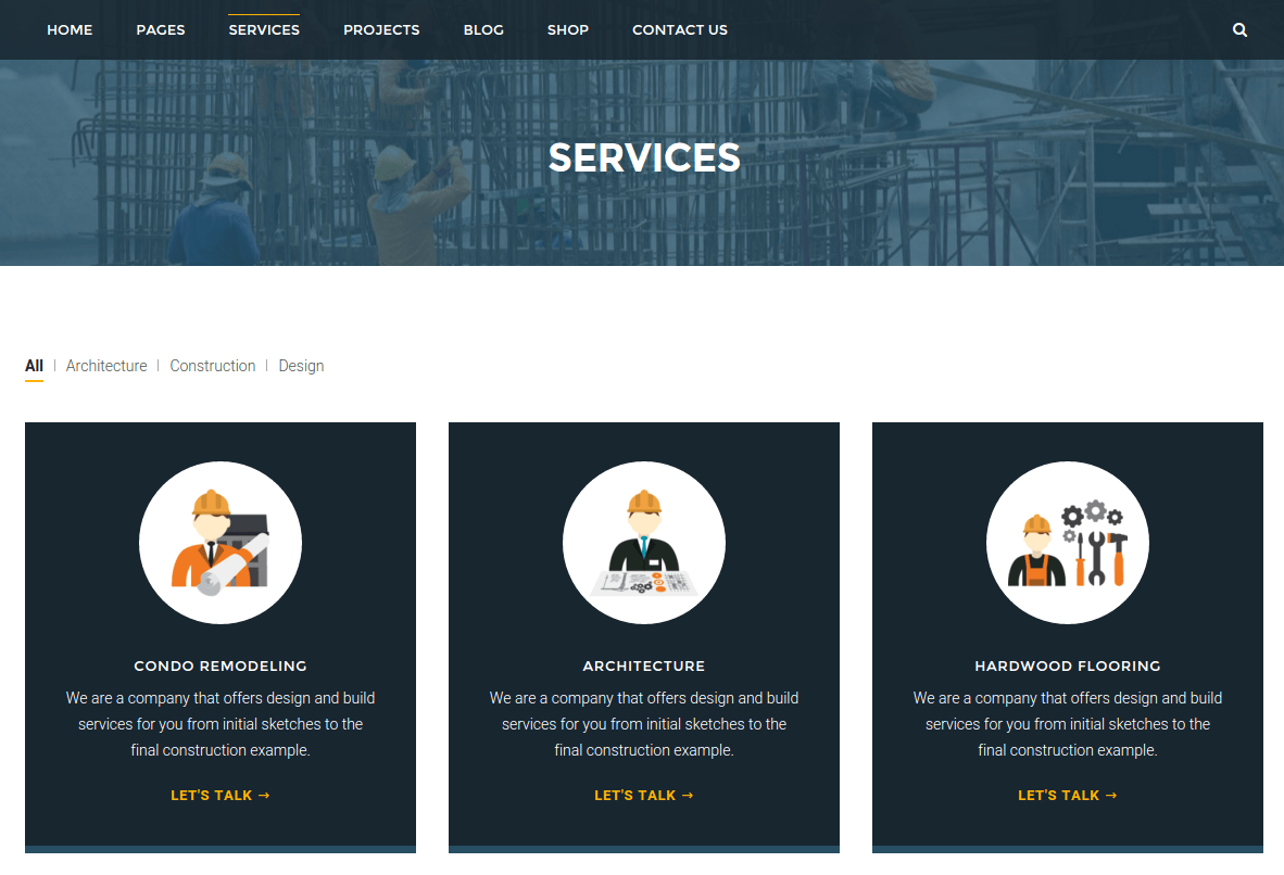 Services Page of BuiltPress