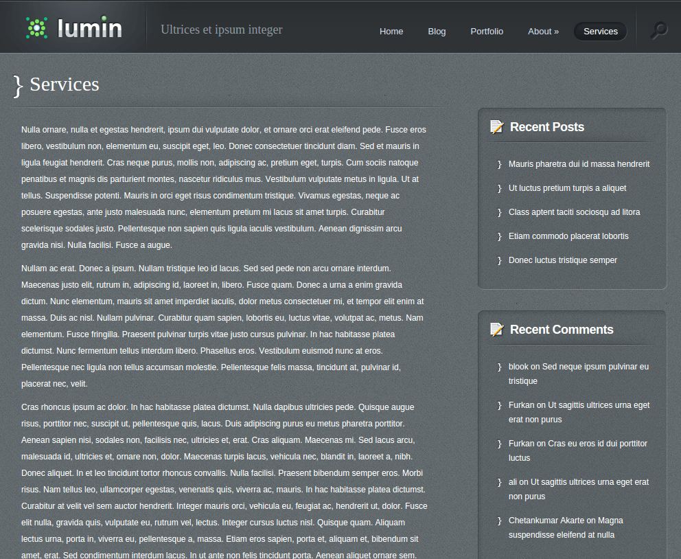 Services Page of Lumin