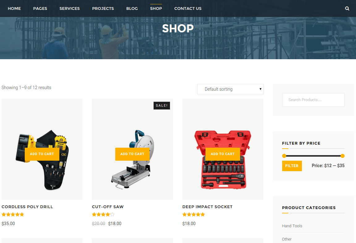 Shop Page of BuiltPress