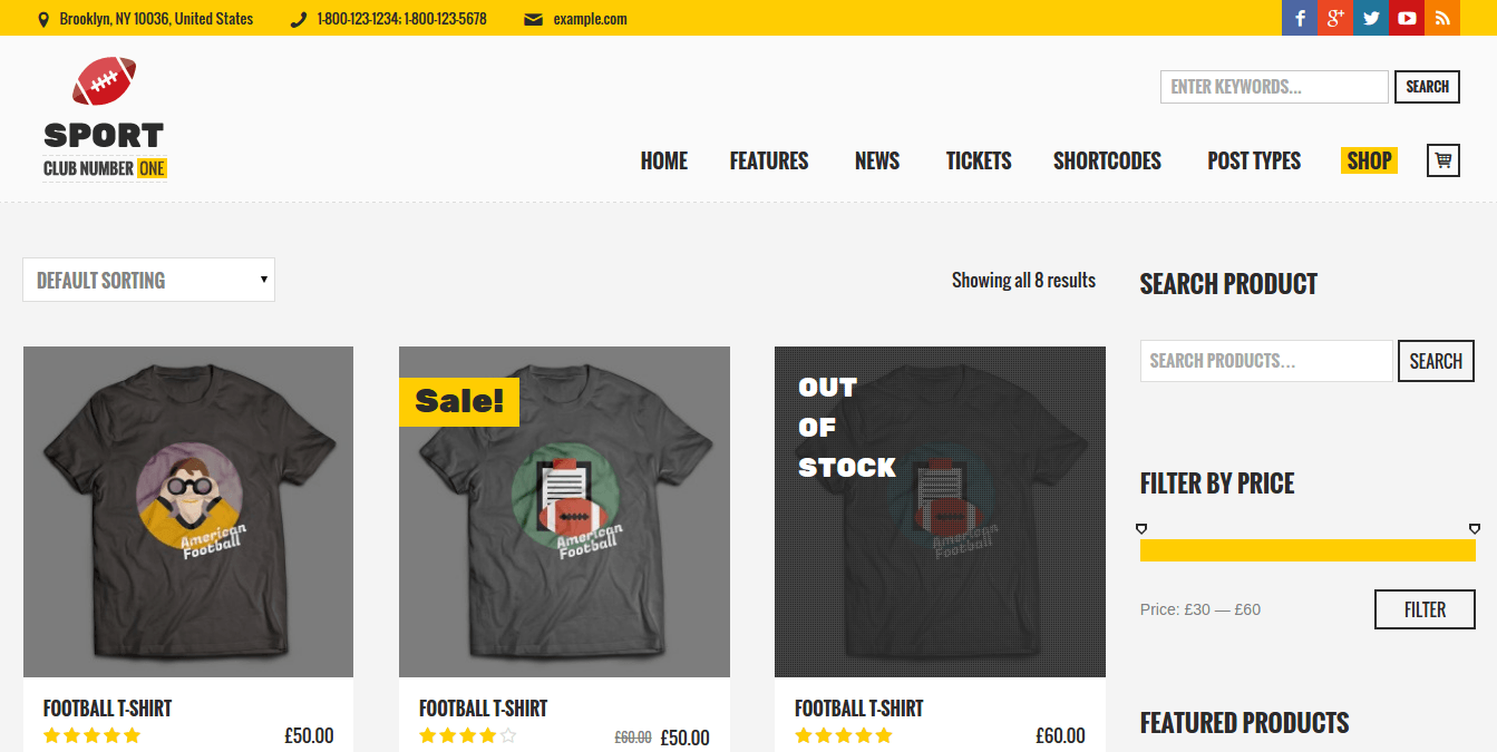 Shop Page of Sports Club