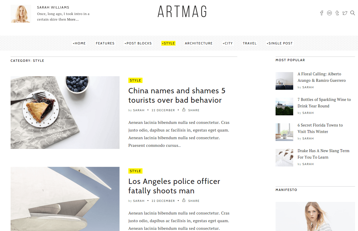 Style Page of Artmag