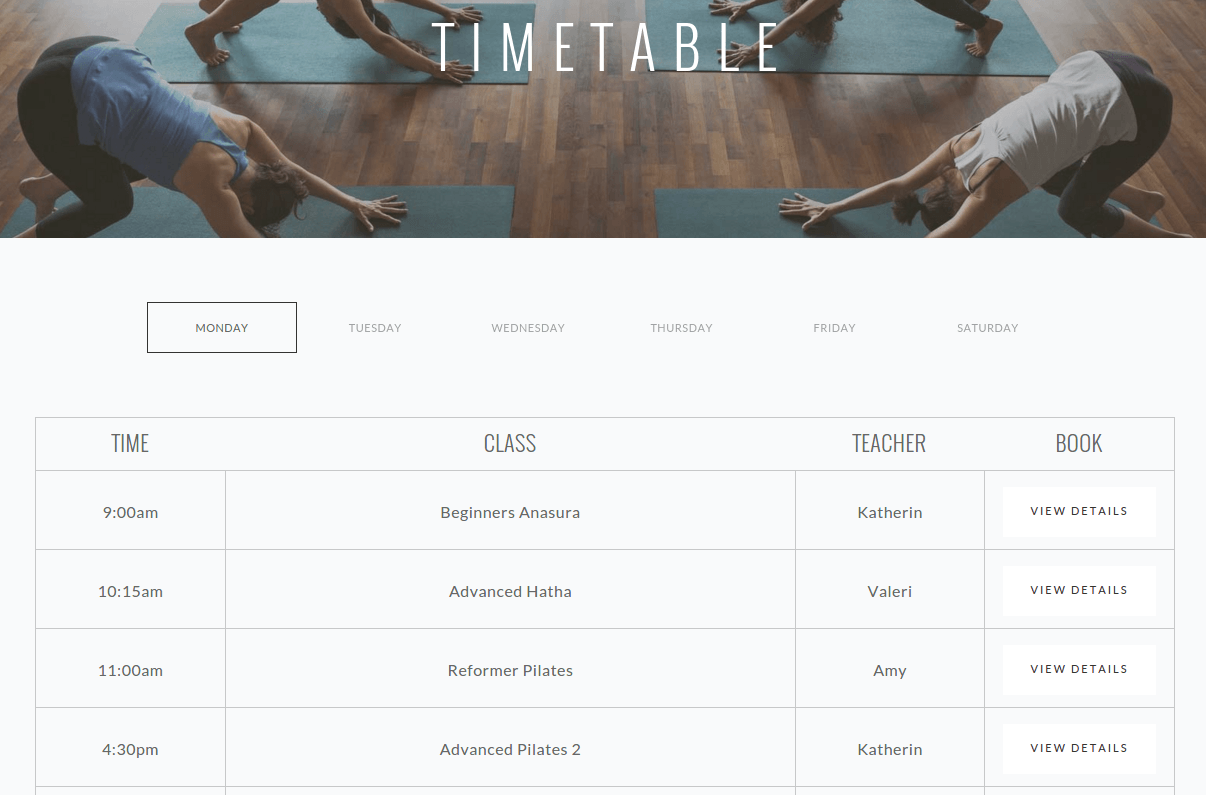 TimeTable Page of Somnus