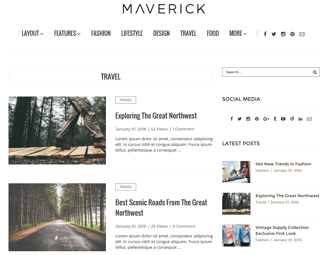 Travel Page of Maverick