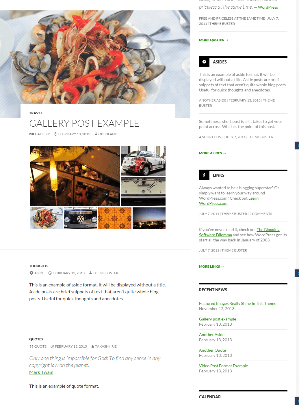 Twenty Fourteen - Gallery and Quotes post format layouts