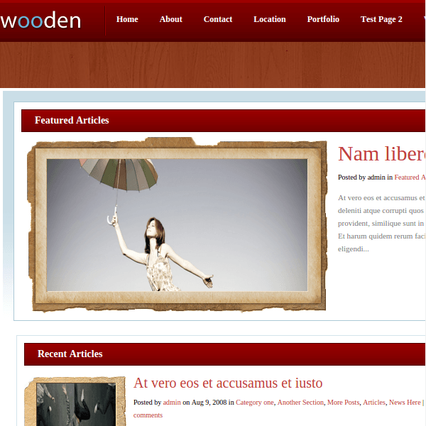Wooden WordPress Theme