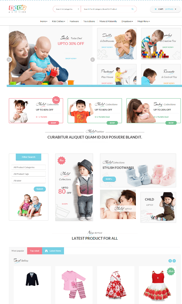 Baby and kids store - homepage 2