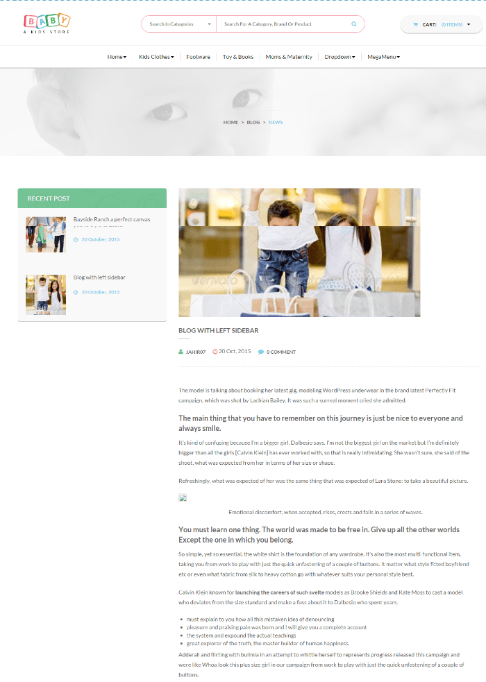 Baby and kids store - page with left sidebar