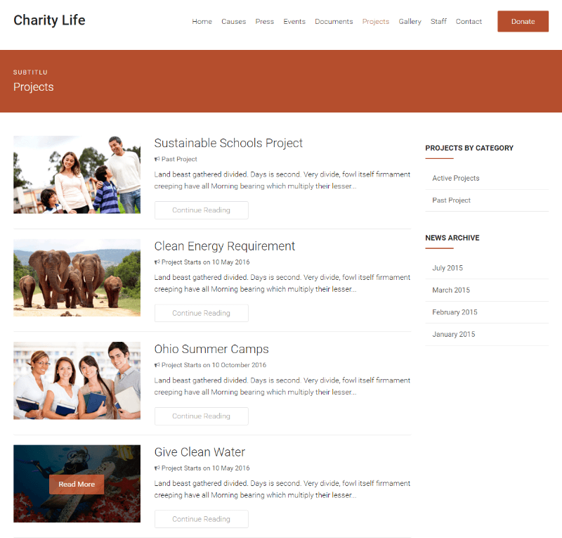Charity Life - Projects