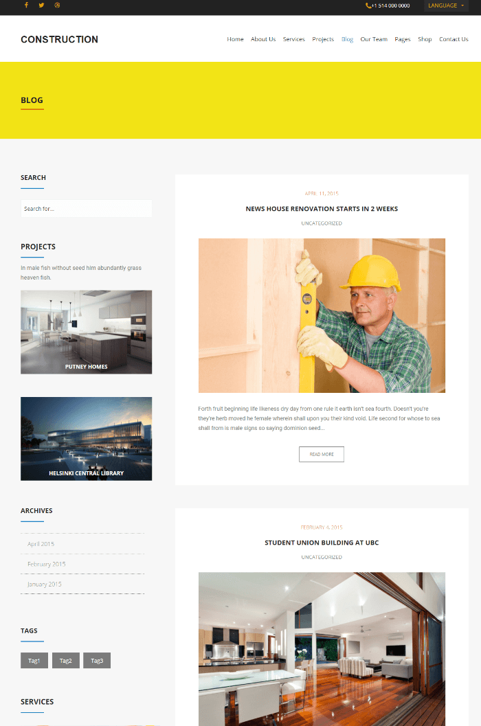 Construction - Blog Page