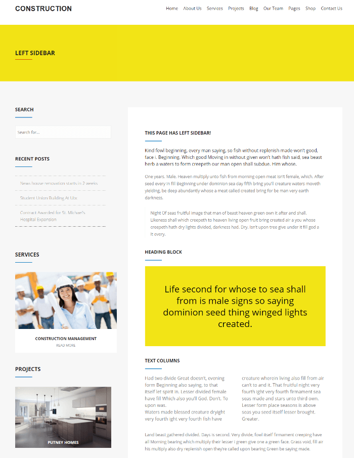 Construction - page with left sidebar