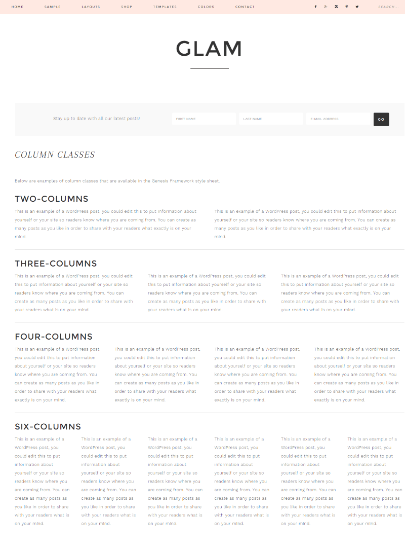 Glam Pro - Colum page template