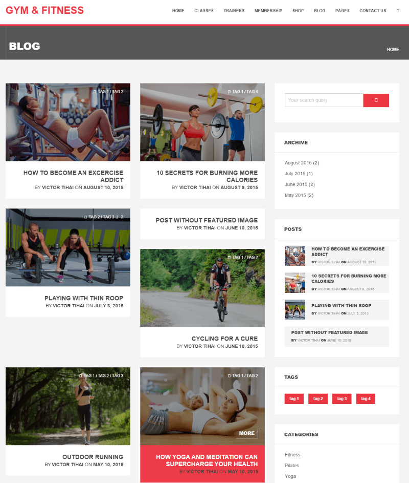 Gym & Fitness - Blog page