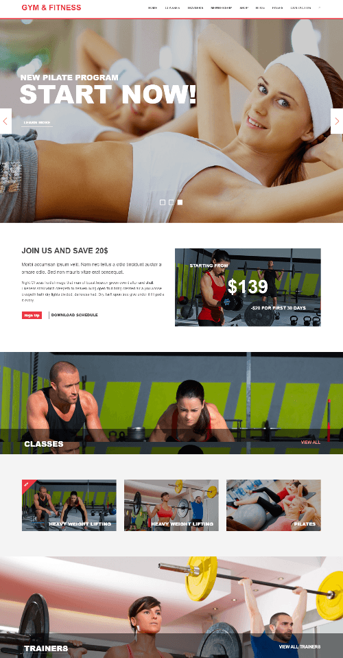 Gym & Fitness - Homepage