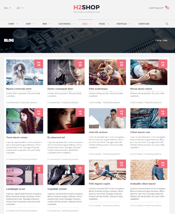 H2shop - 4-column grid blog layouts