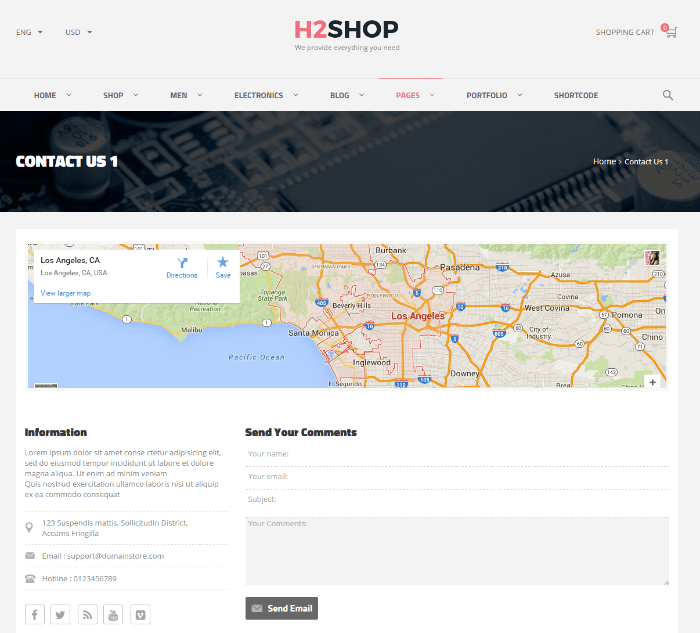 H2shop - contact us page