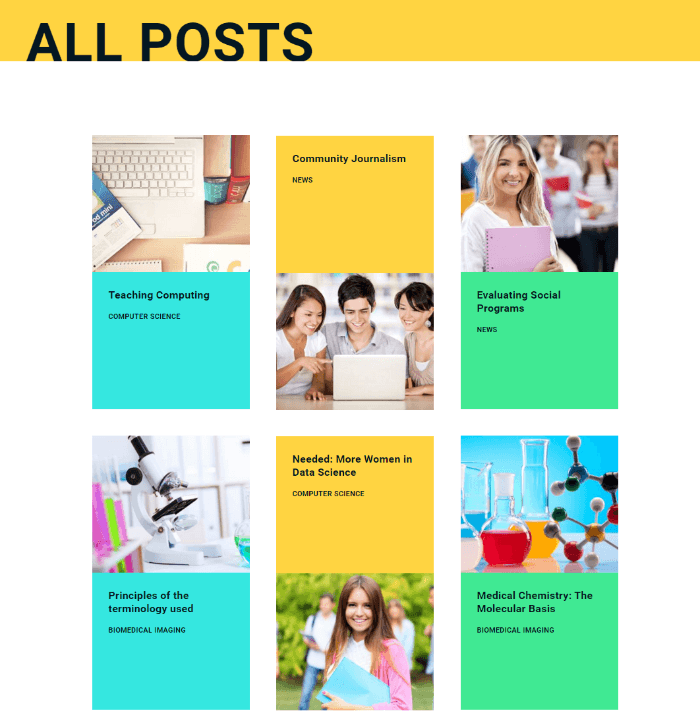 Online University - 3-column colored blog