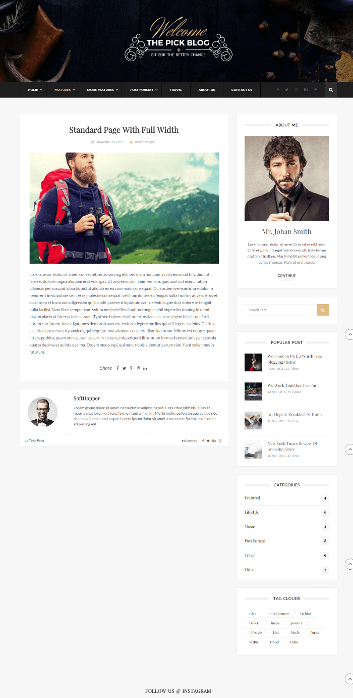 Pick - full width page layout