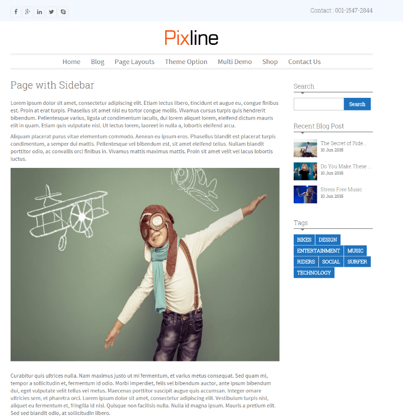 PixLine - Page with sidebar