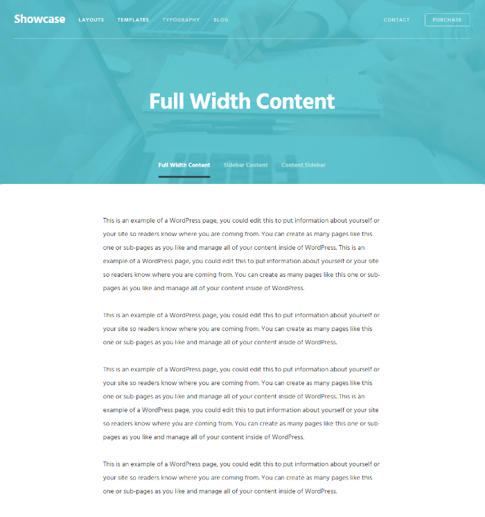 Showcase Pro - Layout ( Full width content ).