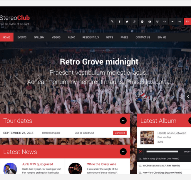 Stereoclub - WP theme for Musics and Bands.