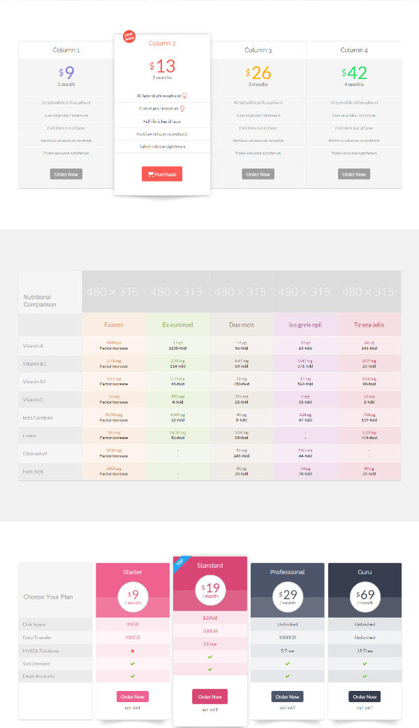 Superfine - pricing tables