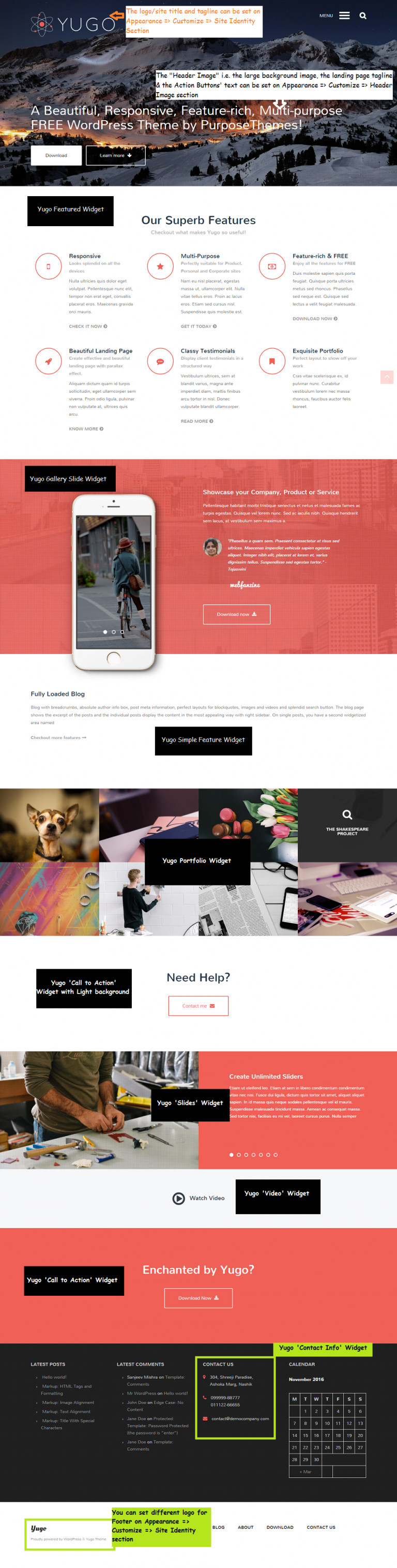 Yugo WordPress Theme Landing Page Setup