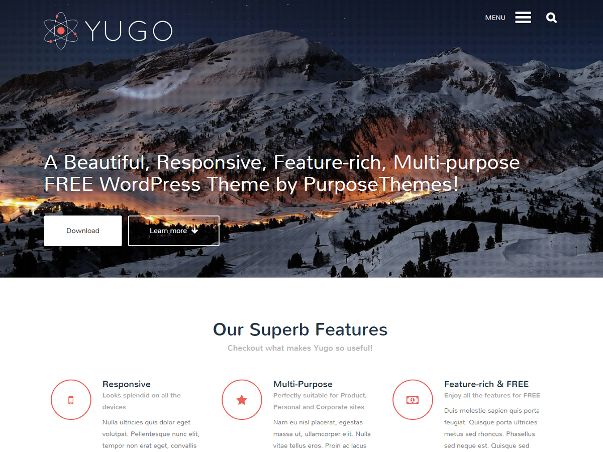 Landing Page of Yugo WordPress Theme