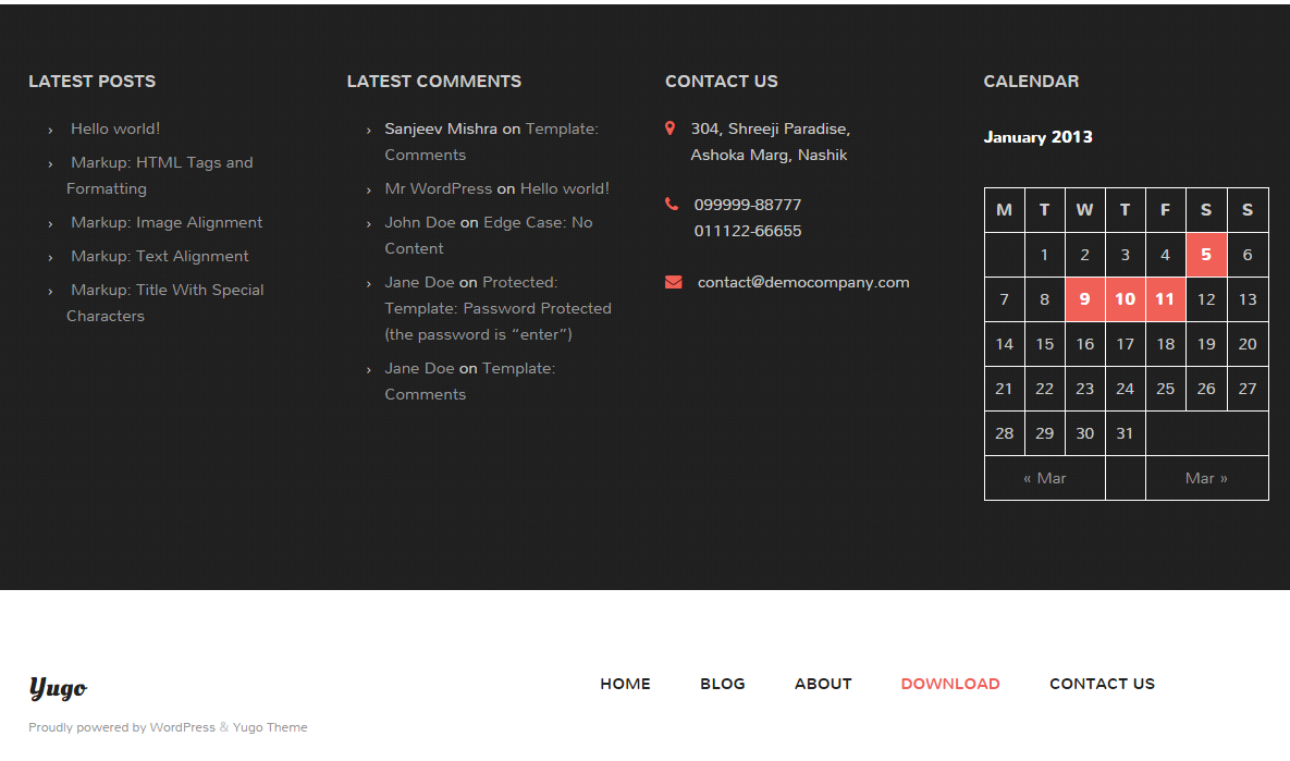 Yugo Theme Footer Area Design